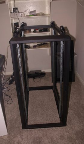 The partially assembled rack, upside down.